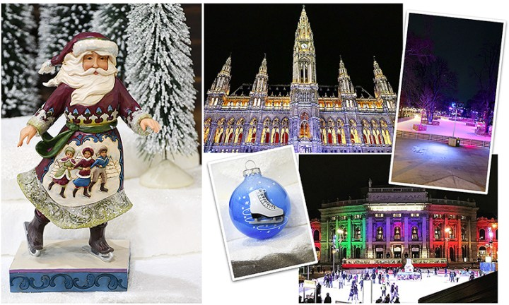 Jim Shore ice skating Santa and Wiener Rathaus in Winter, Vienna, Austria