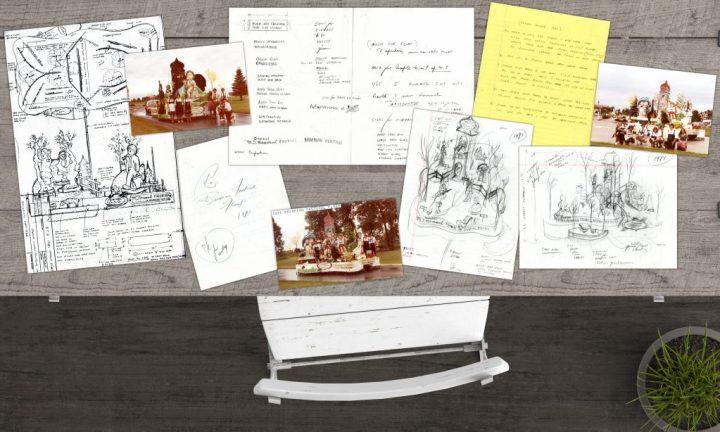 Wally's hand-drawn, 1981 Hummel themed parade float sketches and photos.