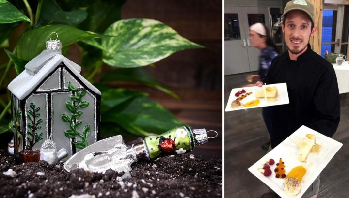 Greenhouse and Garden Trowel with Ladybug Ornaments from Bronners; Dietrich With Plated Dessert.
