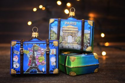 Paris, France Suitcase Glass Christmas Ornaments With Bokeh.