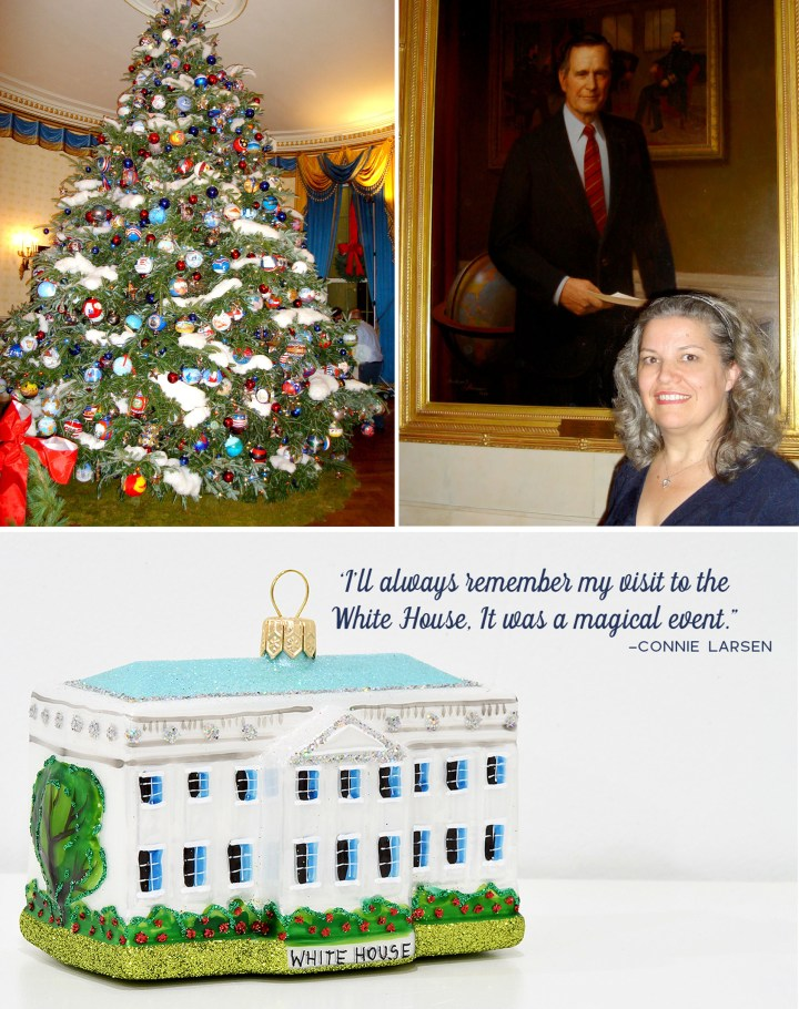 White House Christmas Tree In The Blue Room and Connie Larsen in front of the George H.W. Bush Presidential portrait