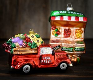 Farm Fresh Produce Truck Next To A Roadside Stand; Ornaments.