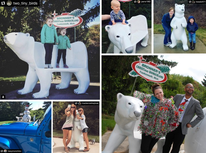 Bronner's Fiberglass Polar Bears And Polar Bear Bench
