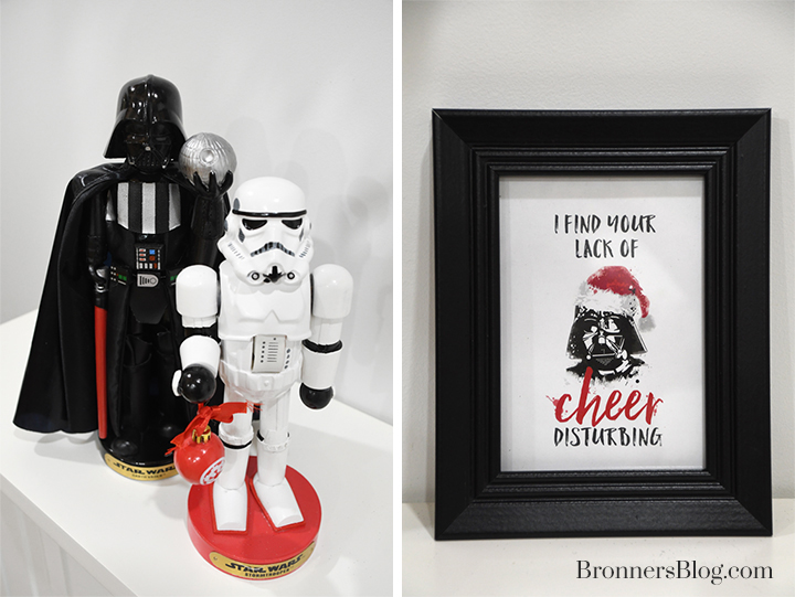 "Darth Vader and Stormtrooper nutcrackers and ""I find your lack of cheer disturbing"" frame"
