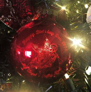 Holly Noel's Laser Etched Ornament Gift From Dad, From Bronner's Christmas Wonderland.