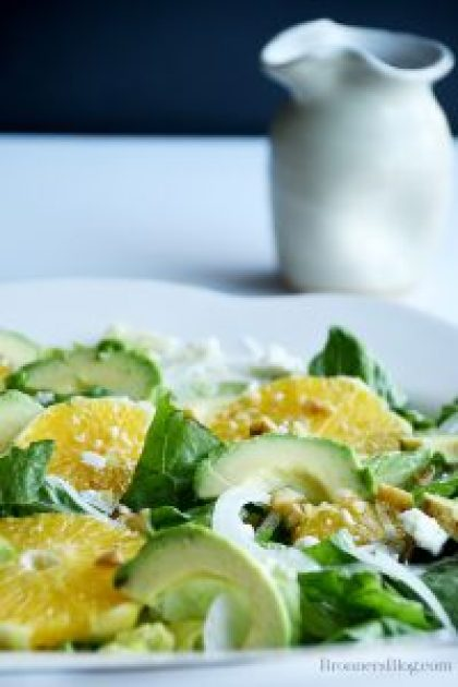 Avocado Orange Salad With Feta Cheese, Walnuts, Onions, And Citrus Salad Dressing