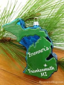 Michigan Glass Ornaments Personalized With Frankenmuth, MI and Bronner's.
