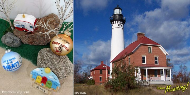 Beach and camping ornaments to celebrate Munising, Michigan.