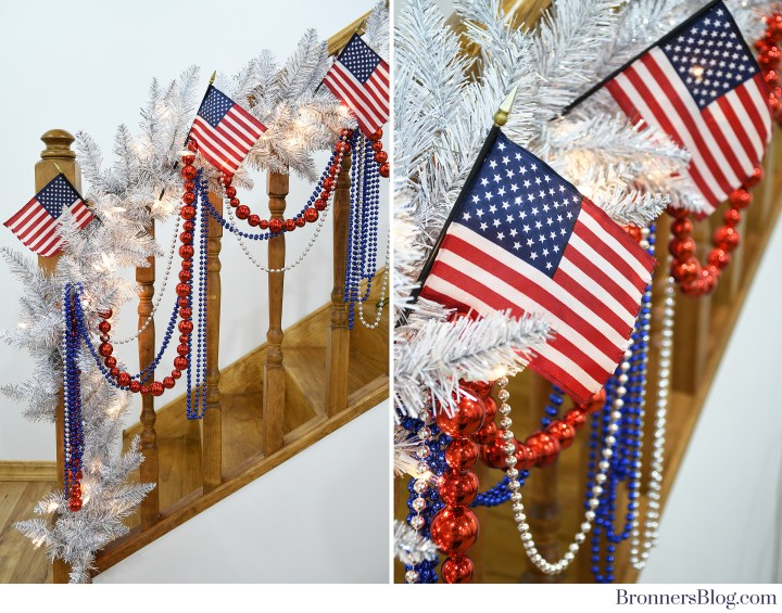 Patriotic Home Decor And American Flags On Railing.