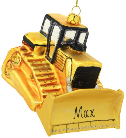 Personalized Yellow Bulldozer Glass Ornament from Bronner's Christmas Wonderland