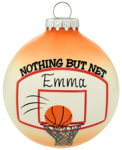 Personalized Nothing But Net Basketball Themed Exclusive Glass Ornament from Bronner's Christmas Wonderland