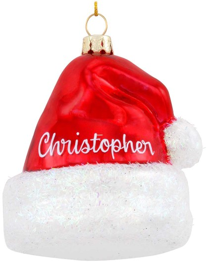 Personalized Red Santa Hat Exclusive Glass Ornament from Bronner's Christmas Wonderland