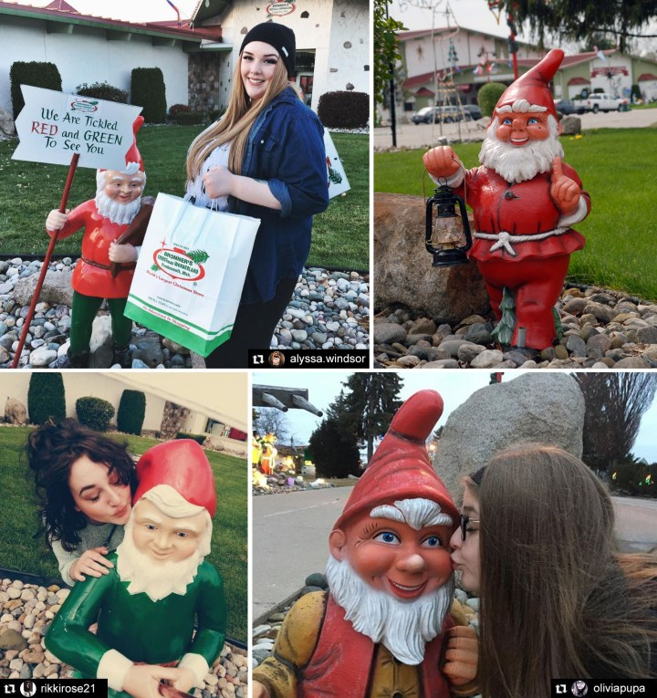 Garden Gnomes At Bronner's Christmas Wonderland In Frankenmuth, Michigan.