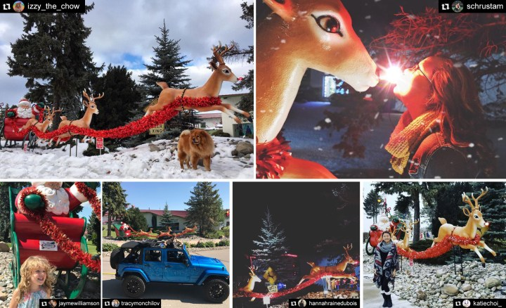 Santa And Sleigh Of Reindeer At Bronner's Christmas Wonderland In Frankenmuth, Michigan.