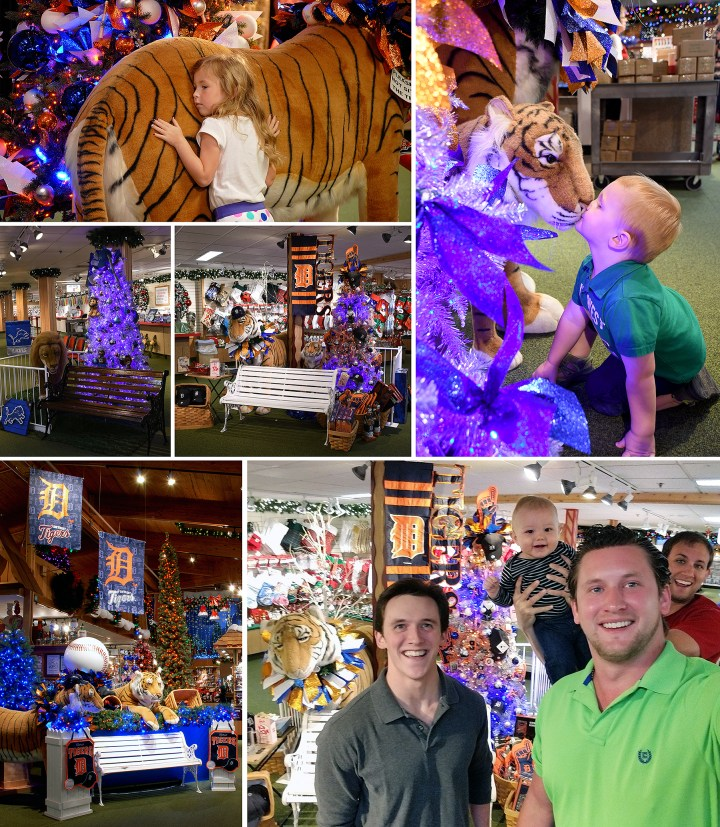 Detroit Tigers Baseball And Detroit Lions Football Displays At Bronner's Christmas Wonderland In Frankenmuth Michigan Provide A Fun Photo Op.