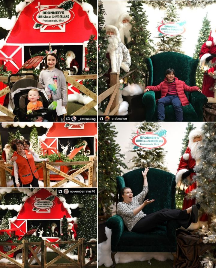 Bronner's Tree Farm Display And Over-sized Green Velvet Chair Photo Ops.