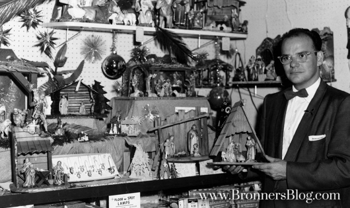 Originator Wally Bronner with Nativity scene