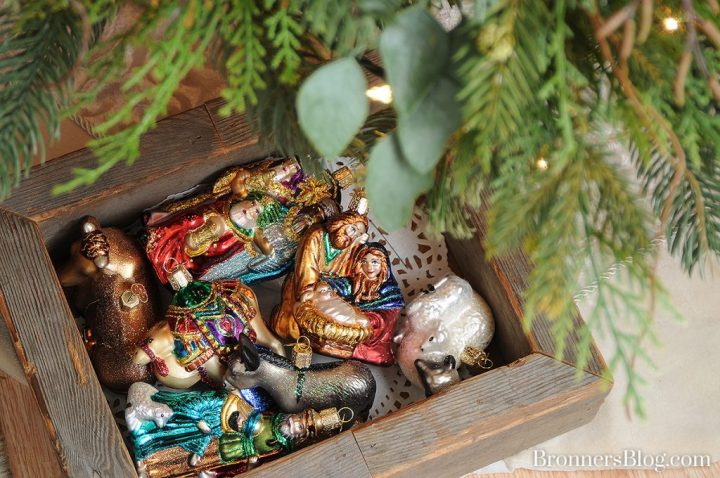 Old World Christmas Glass Nativity Christmas Ornaments from Bronners