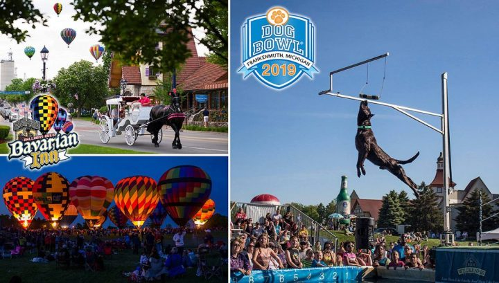Balloons over Bavarian Inn and Franknemuth Dog Bowl event photos.