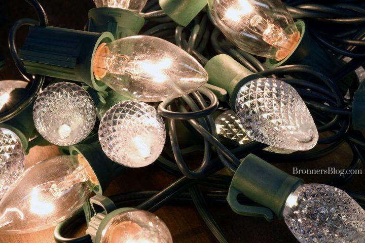 LED and Incandescent Christmas Light Bulbs