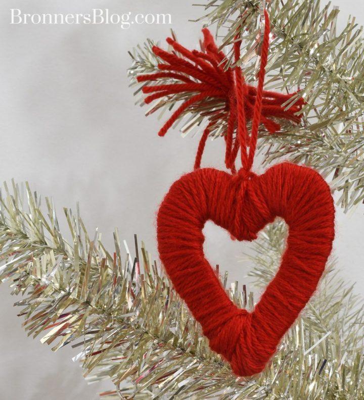 DIY Yarn Heart Ornament