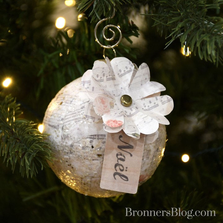 DIY music sheet decoupage ornament
