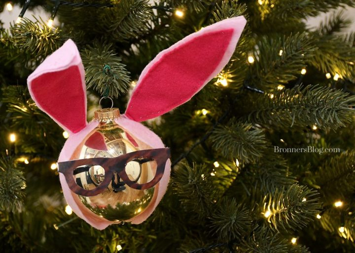 DIY ornament from A Christmas Story, Ralphie Parker in a pink bunny suit.
