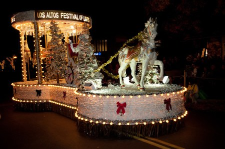 white float with Christmas trees and merry-go-round horse
