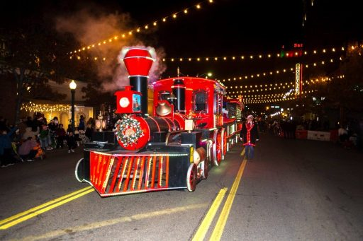 red & black Christmas train in Amarillo, Christmas parades in Texas
