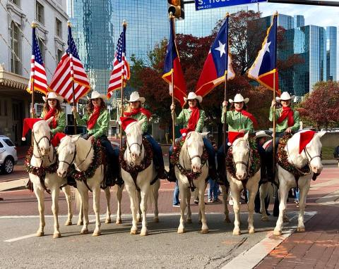 six horses & riders carrying flags in Dallas Christmas parade