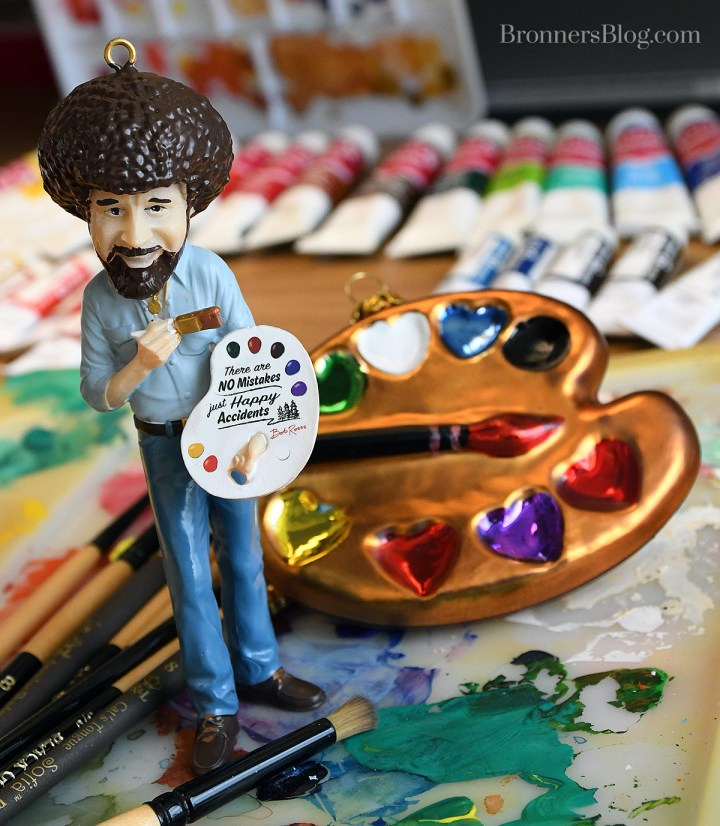 Bob Ross And Exclusive Artist Palette Ornaments Available At Bronner's CHRISTmas Wonderland.