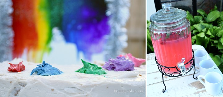 Palette Cake details and Raspberry and Mint infused Lemonade.