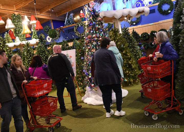Guests check out the vintage Christmas tree on display in Bronner's CHRISTmas Wonderland in Frankenmuth, Michigan.