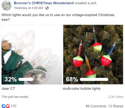 Facebook poll results favor retro bubble lights over clear C7 incandescent Christmas lights.