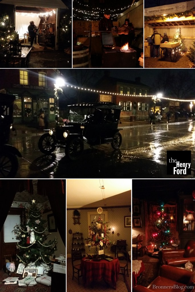 The Henry Ford's Greenfield Village Holiday Nights with Model T rides, open fire pits and vintage Christmas decorations through the eras.