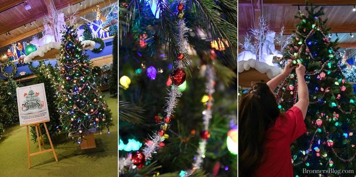 Vintage tinsel beaded garland goes on Bronner's Nostalgic Christmas tree.