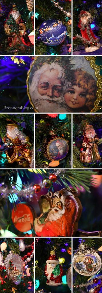 Nostalgic Santa ornaments from Bronner's decorate our vintage tree.