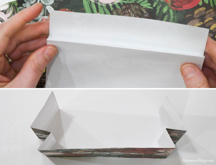 Accordion fold your Christmas cracker paper at the scored lines.