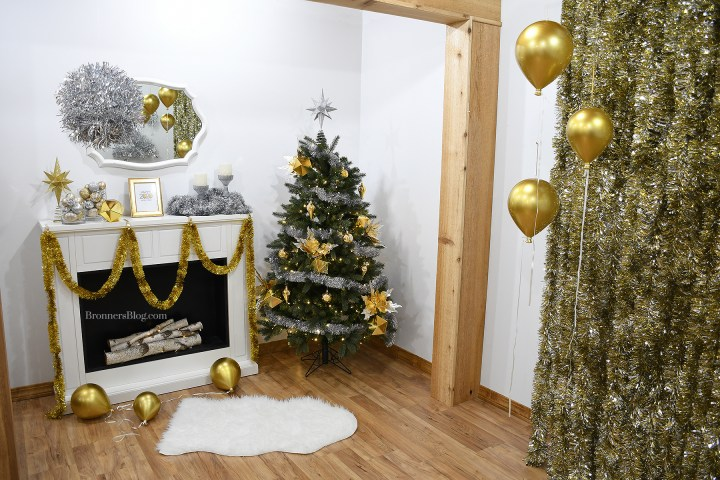 Silver and gold tinsel party decorations for New Years Eve Party.