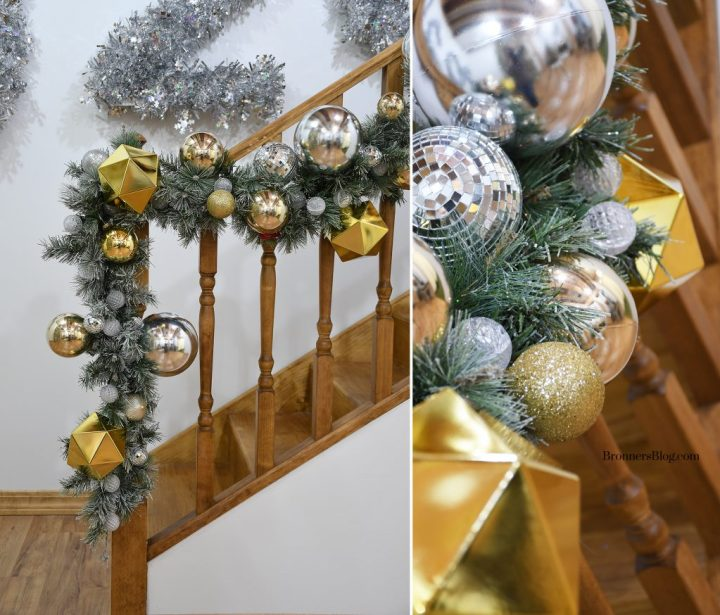 Silver and gold mantle decorating idea for New Year's Eve Party