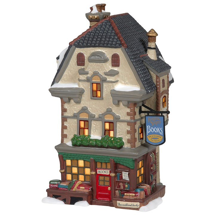 Department 56's Russell Street Books village bookstore house for Dickens' Village.
