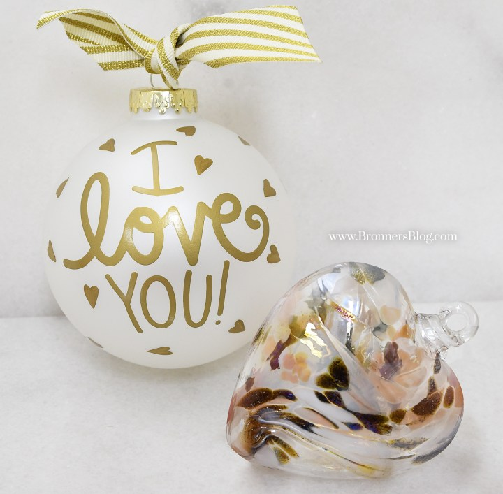 I Love You glass ornament and heart spun glass ornament from Bronner's.