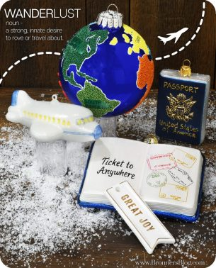 Travel themed Christmas ornaments from Bronner's Christmas Wonderland.