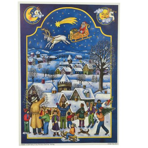 Advent calendar pictures snow-covered village with villagers watching Santa, sleigh and reindeer fly overhead