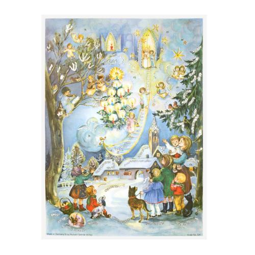 Advent calendar pictures snow-covered village and church with villagers and angels throughout the sky and trees