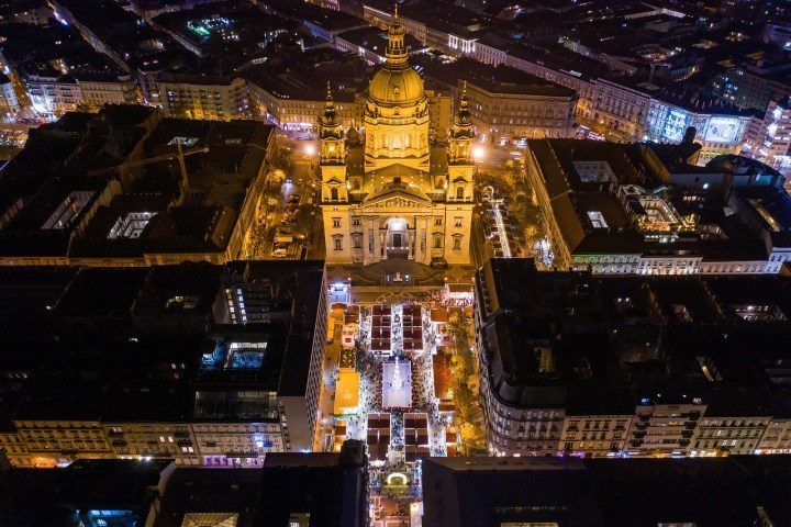 An aerial view over Budapest's Basilica Christmas Market in Hungary.