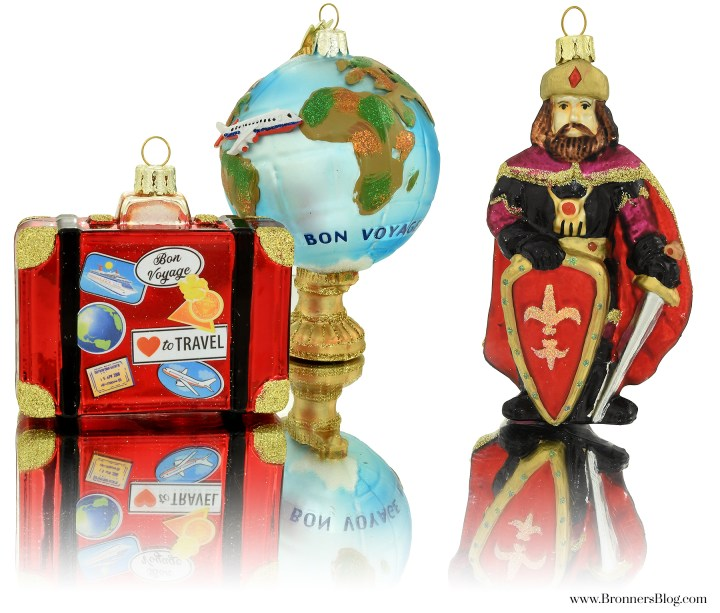 Suitcase, Bon Voyage Globe and Medieval Knight Glass Ornaments From Bronner's.
