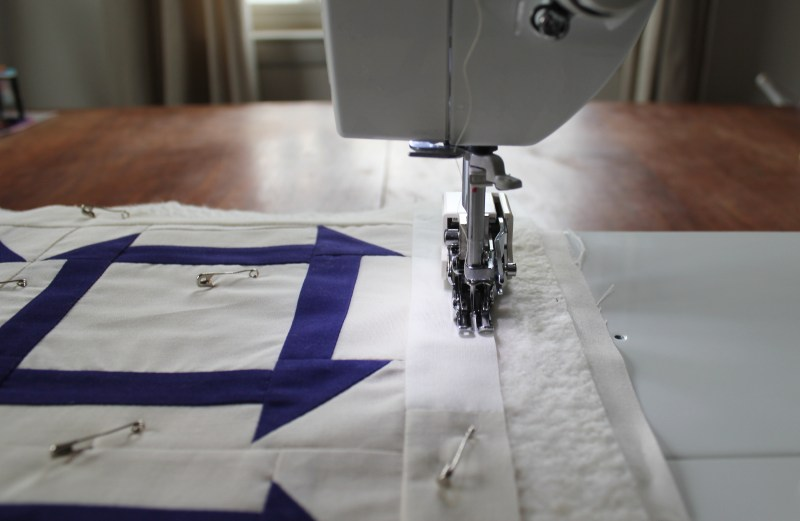 16 first line of quilting