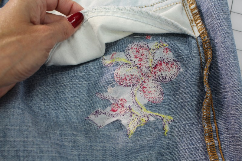 Embellishing Jeans with Free Motion Embroidery - Check position