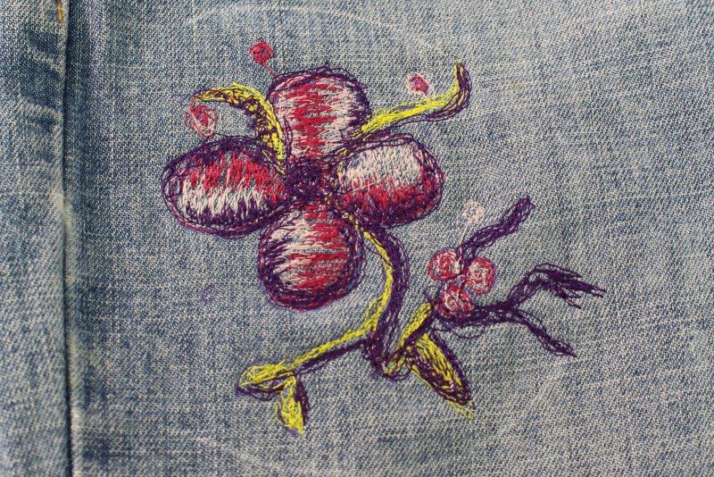 Embellishing Jeans with Free Motion Embroidery - Clean chalk marks